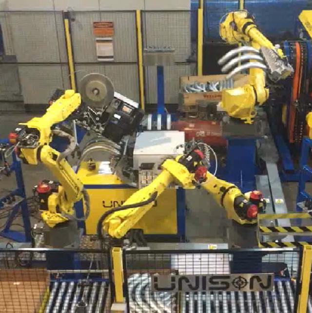 弯管机粗管三管并做机器人自动线