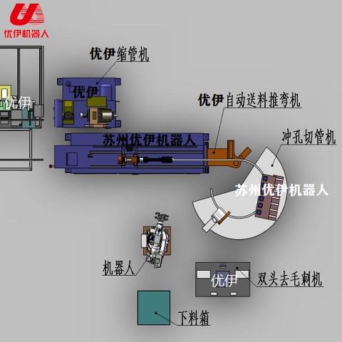 蹦床圆弧管机器人自动生产线(方管)